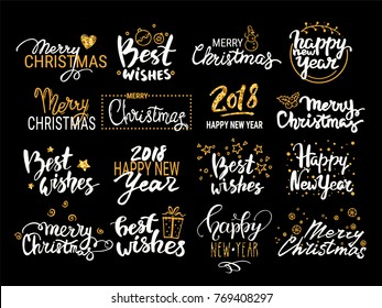 Christmas & New Year vector set: handwritten lettering, holiday label, emblem, text design elements with gold glittered winter symbols. Festive quotes Merry Christmas, Happy New Year 2018, Best wishes
