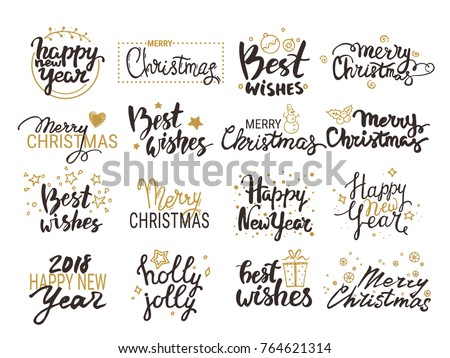 Christmas New Year Vector Set Handwritten Stock Vector (Royalty Free ...