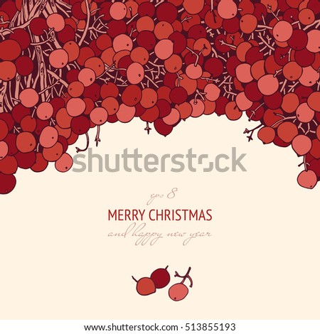 christmas and new year vector template with red berries minimalist illustration for seasonal posters and