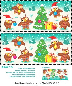 Christmas or New Year visual puzzle: Find the ten differences between the two pictures  - owls trimming the christmas tree (plus same task text in Russian, German, French, Spanish). Answer included.