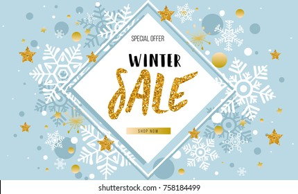 Christmas, new year, winter sale banner. Poster, background, flyer, invitation card, template design with snowflakes, stars on blue. Vector illustration.