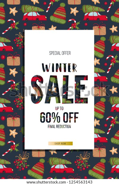 Christmas New Year Winter Sale Banner Stock Image Download Now