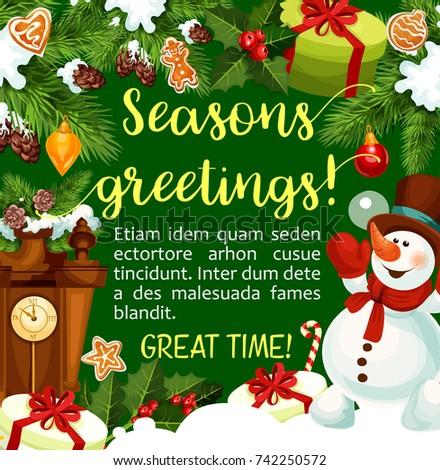 Christmas new year winter season greeting stock vector royalty free christmas or new year winter season greeting card and wishes vector christmas tree snowman m4hsunfo