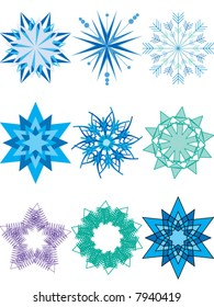 Christmas and New Year winter snowflakes