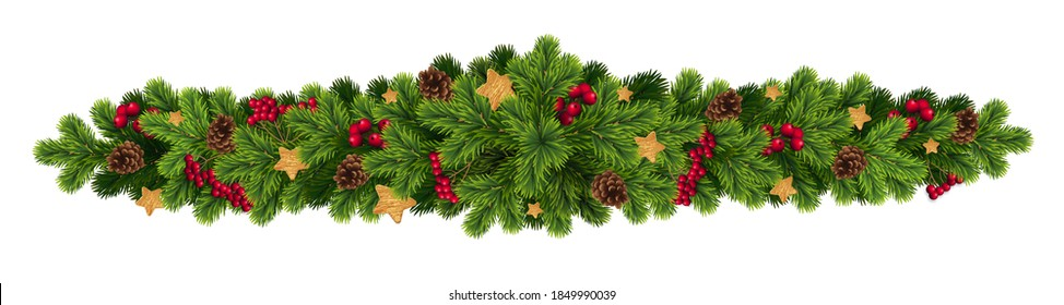 Christmas and New Year wreath garland made of naturalistic looking pine branches with red berries and cones.Vector concept for web siye, christmas card and landing page,