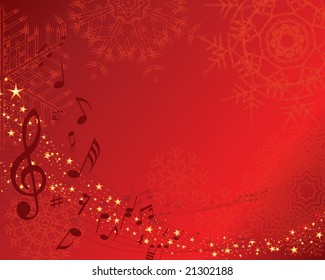 Christmas (New Year)greeting postcard with musical staff. Vector background.