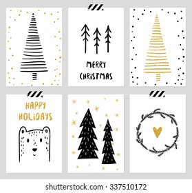 Christmas and New Year's 6 Cards Collection. Set of Winter Holiday card templates. Christmas Posters set. Vector illustration. Template for Greeting Scrapbooking, Congratulations, Invitations, Tags.