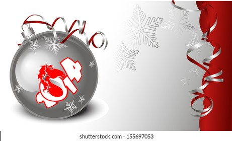 Christmas and New Year's background image of silver Christmas balls with silver ribbon curl
