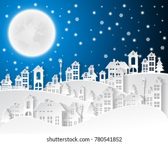 Christmas and New Years background with village Landscape.vector