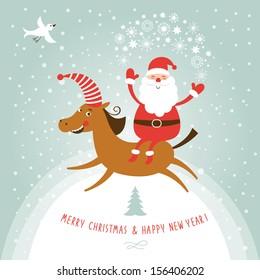 Christmas and New Year's card, Santa on horse