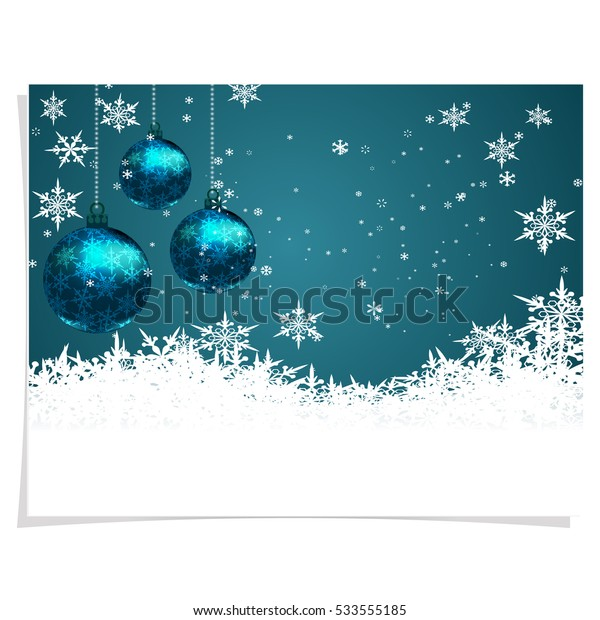 Christmas, New Year's card. Three green shiny ball on a beautiful Christmas background. Hand among snowflakes. Christmas tree toy. vector illustration
