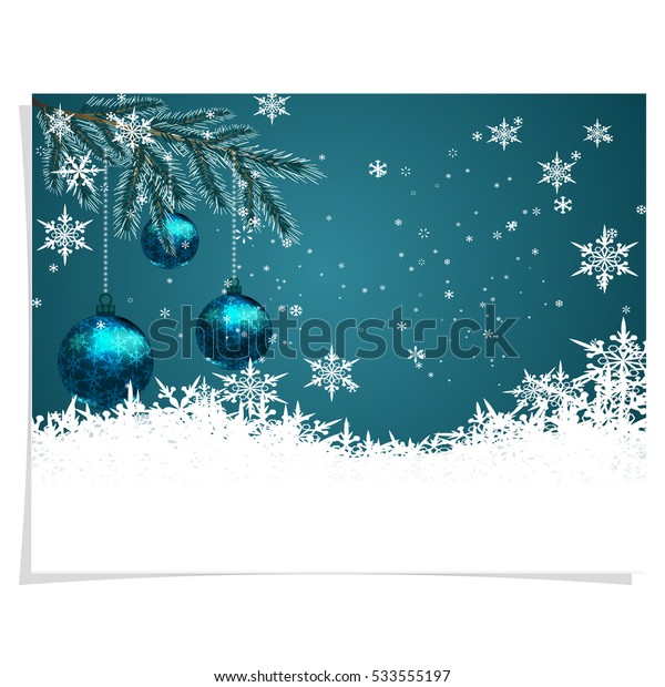 Christmas, New Year's card. Three green shiny balls on beautiful Christmas background. Hanged among the snowflakes on the tree branches. Christmas tree toy. vector illustration
