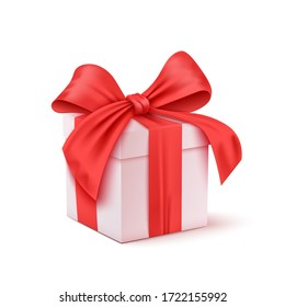 Christmas and New Year's Day red gift box white background. Vector illustration