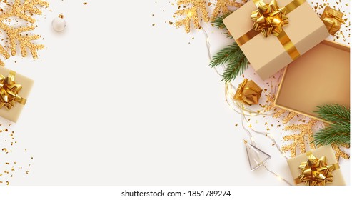 Christmas and New Year's gift composition. Empty Open gift box template. Xmas design Realistic decorative object. Sale banner, surprise poster, flyer and brochure. mock up holiday. Vector illustration - Shutterstock ID 1851789274