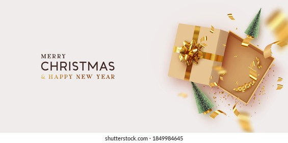 Christmas and New Year's gift. Empty Open gift box template. Xmas design Realistic decorative objects. Sale banner, surprise poster, flyer and brochure. mock up holiday. Vector flat lay, top view