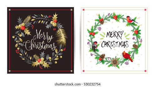 Christmas and New Year's greeting cards with wreath, bouquets and winter birds. Vector illustrations for greeting cards, invitations, media banners, printed material design