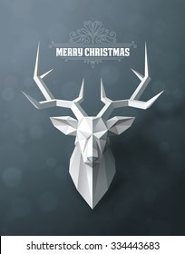 Christmas and New Years red background with Triangular Paper deer head.
