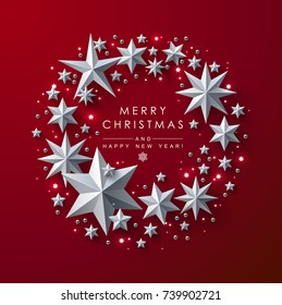 Christmas and New Years red background with frame made of cutout paper stars.