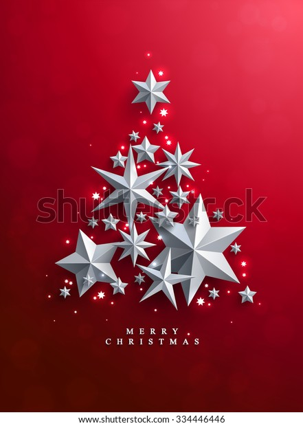 Christmas and New Years red background with Christmas Tree made of cutout paper stars.