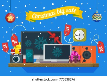 Christmas and New Year's sale. Discounts of electronic equipment. Sale of computers, laptops, telephones, cameras, audio speakers and price tags. Banner in a flat style. Vector illustration