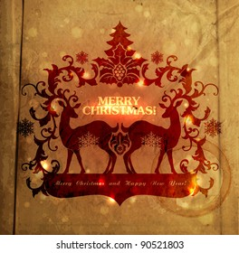 Christmas and New Years vintage-look postcard with silhouette of reindeers and frame for text EPS10 contains transparency