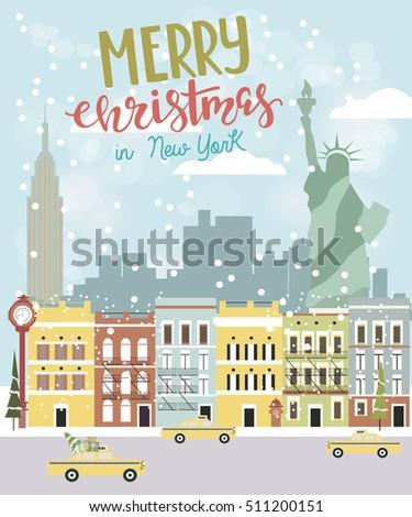 Christmas new york greeting card vector stock vector royalty free christmas new york greeting card vector illustration m4hsunfo