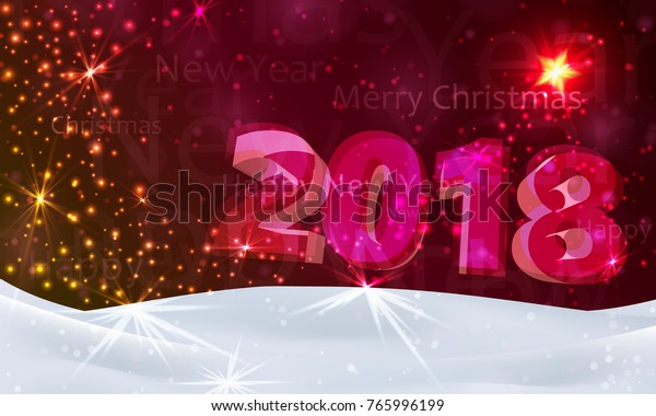 Merry Christmas Poster 2018.Christmas Night Background Stars Snow Number Stock Vector