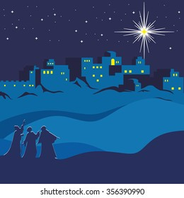 Christmas. Night Bethlehem, wise men following the star of Bethlehem