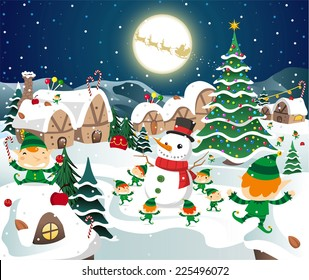 Christmas night celebration on the north pole vector cartoon illustration