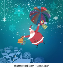 Christmas night. Cute Santa Claus with parachute coming down to town bringing gifts. Seasons Greetings. Vector EPS 10 illustration.