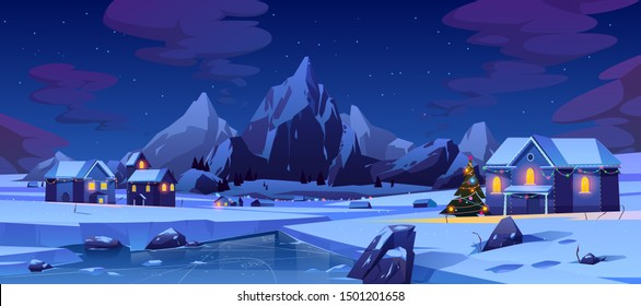 Christmas night in mountain city or Canada. Winter landscape with houses or chalet glowing with colorful lights and decorated xmas tree on street for wintertime holidays. Cartoon vector illustration