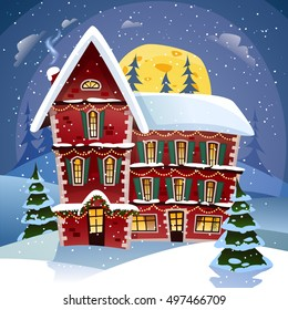 Christmas night poster with fairy tower in snowfall at winter landscape background flat vector illustration