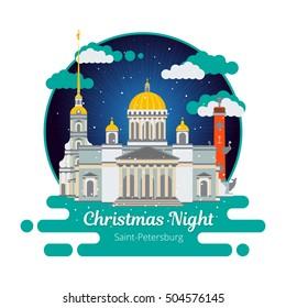 Christmas night in Saint-Petersburg. Flat cityscape. Vector illustration.