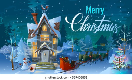 Christmas. Night, Santa Claus and his reindeer sleigh with sled. Winter time, Clause the Family house before a holiday. An illustration for card. New Year's poster.