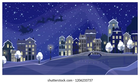 Christmas night townscape with buildings and Santa Claus in sky. Night town scene vector illustration. Christmas Eve concept. For websites, wallpapers, posters or banners.