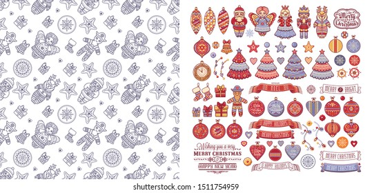 Christmas. Noel. Weihnachten. Christmas Angel, Nutcracker, Santa, Christmas toys, clock watches, snowflake, socks, heart, Christmas reindeer Rudolph, gingerbread man, lettering Xmas seamless pattern