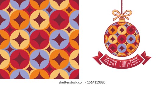 Christmas. Noel. Weihnachten. Christmas decor and seamless geometric pattern. Trendy abstract design