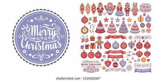 Christmas. Noel. Weihnachten. Christmas seamless pattern and lettering greeting card. Angel, Nutcracker, Santa, Christmas toys, clock watches, snowflake, socks, heart, Christmas reindeer Rudolph