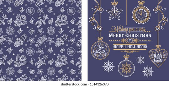 Christmas. Noel. Weihnachten. Christmas seamless pattern and lettering greeting card. Beautiful Christmas lilac purple violet lavender pattern and lettering greeting card