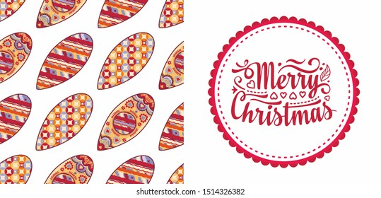 Christmas. Noel. Weihnachten. Christmas seamless pattern and lettering greeting card. Beautiful Christmas pattern and lettering greeting card