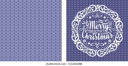 Christmas. Noel. Weihnachten. Christmas seamless pattern and lettering greeting card. Beautiful knitting Christmas lilac purple violet lavender pattern and lettering greeting card