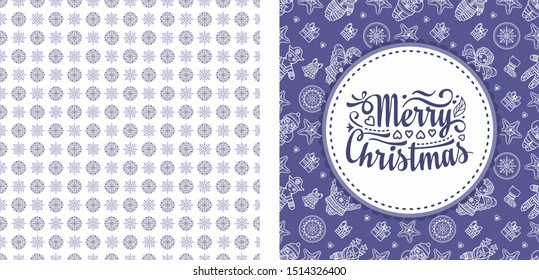 Christmas. Noel. Weihnachten. Christmas seamless pattern and lettering greeting card. Lilac purple violet lavender Christmas. Angel, Nutcracker, Santa, Christmas toys, clock watches, snowflake, socks