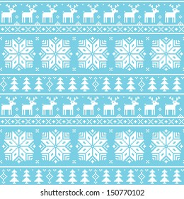 Christmas nordic seamless pattern - deer, snowflakes and trees
