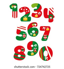 Christmas numbers vector in green and red.