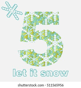 christmas numeral with snowflakes. Vector ornamental. Numeral 5