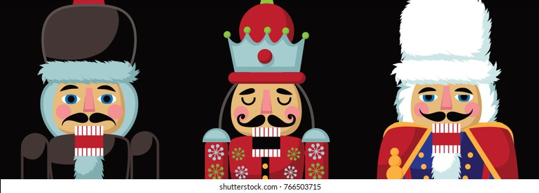 Christmas nutcracker cartoon illustration. Three wooden soldier toy nut cracker gifts from the ballet. EPS 10 vector illustration.