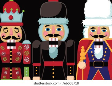 Christmas nutcracker cartoon illustration. Three wooden soldier nut cracker toy gifts from the ballet. EPS 10 vector illustration.