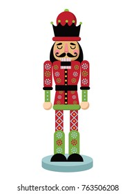 Christmas nutcracker cartoon illustration. Wooden soldier toy Nutcracker gift from the ballet. EPS 10 vector illustration.