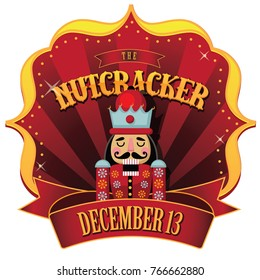 Christmas nutcracker retro marquee. Wooden soldier toy gift nut cracker from the ballet. EPS 10 vector illustration.
