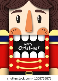 Christmas nutcracker vector illustration in paper cut style. Cool wooden soldier toy from ballet with open mouth and space for text. Creative Merry Xmas background, card, banner, flyer, party invite